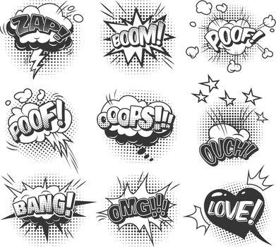 Comic speech bubbles dynamic set