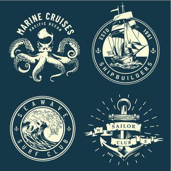 Vintage marine and nautical logos