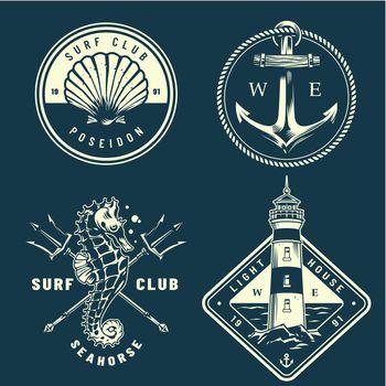 Monochrome nautical logos collection