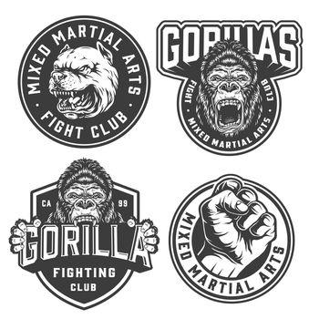 Vintage fight club monochrome labels