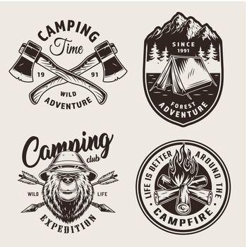 Vintage monochrome camping logos