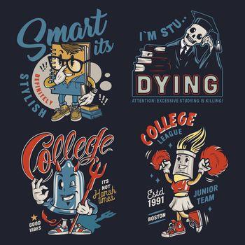 College colorful vintage badges