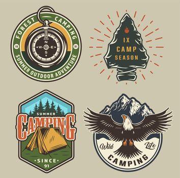 Vintage camping colorful emblems