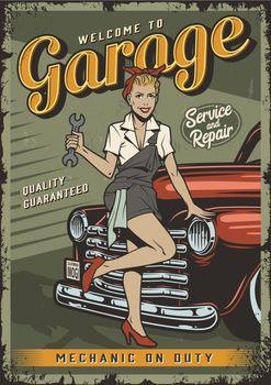 Vintage garage service colorful poster