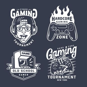 Vintage monochrome gaming emblems set
