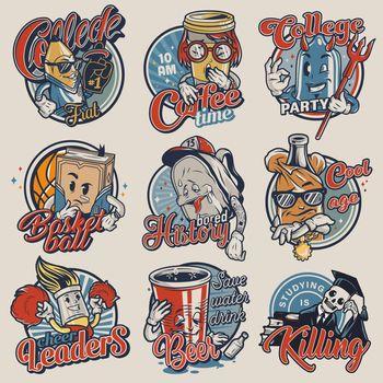 Vintage college emblems set