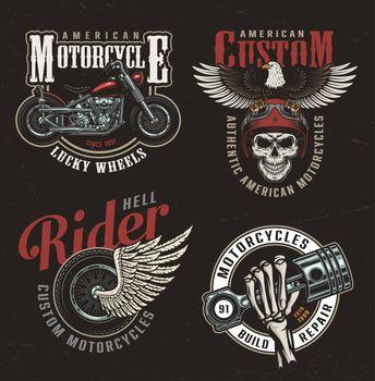 Vintage colorful motorcycle labels