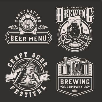 Vintage monochrome beer prints