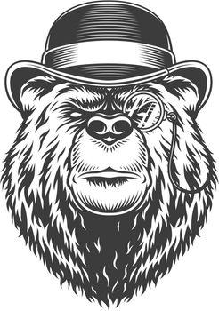 Vintage serious gentleman bear head