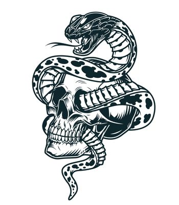 Snake entwined with skull template