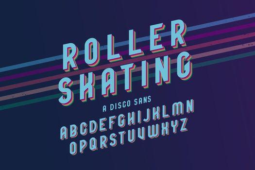 Vintage roller skating font