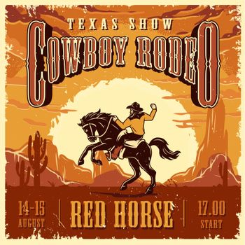 Cowboy rodeo show advertising template