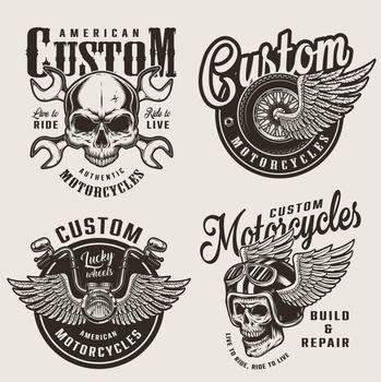 Vintage custom motorcycle emblems