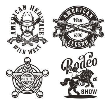 Vintage wild west monochrome labels