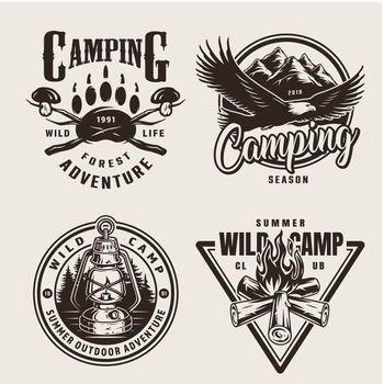 Vintage summer outdoor adventure emblems