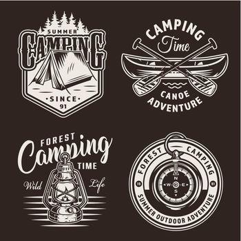 Vintage monochrome camping prints