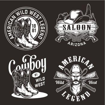 Monochrome vintage wild west labels