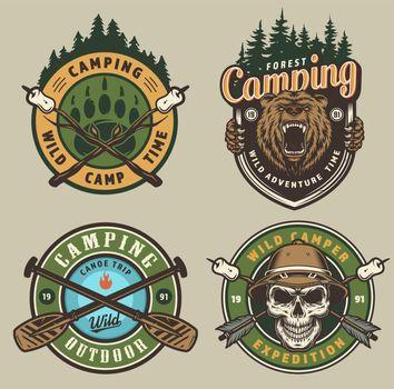 Colorful summer adventure vintage emblems