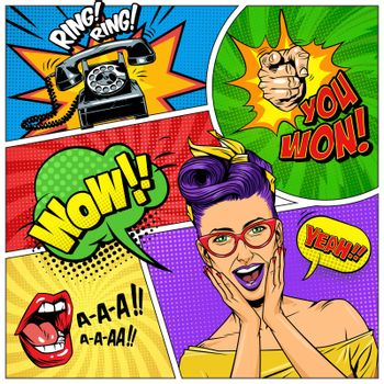 Comic colorful composition
