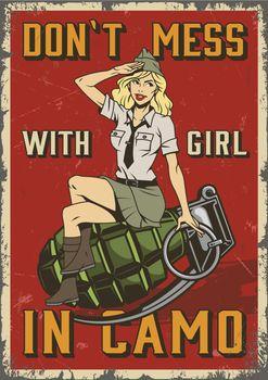 Retro military colorful poster