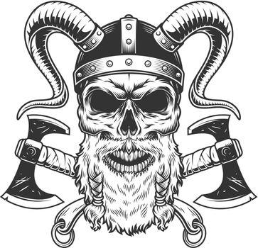 Vintage monochrome scandinavian viking skull
