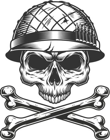 Soldier skull without jaw in helmet
