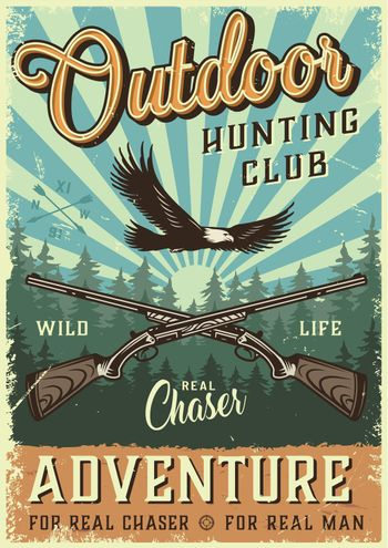 Colorful hunting poster