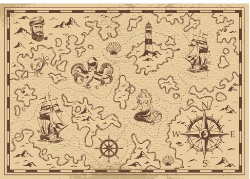 Vintage monochrome old pirate treasure map