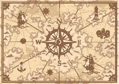 Vintage monochrome treasure map concept