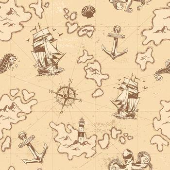 Vintage nautical seamless pattern
