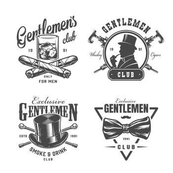 Vintage monochrome gentleman labels set