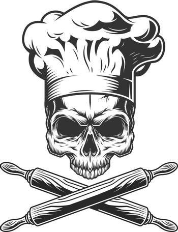 Vintage chef skull without jaw
