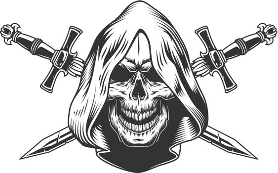 Reaper skull in hood
