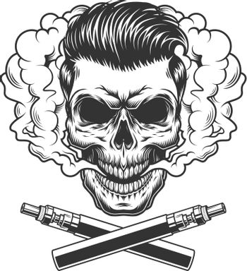 Vintage hipster skull with trendy hairstyle