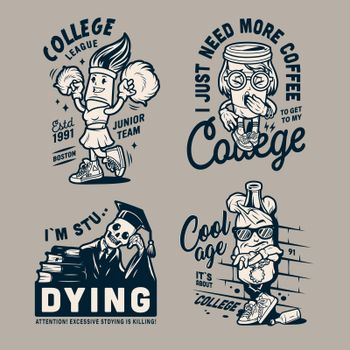 Vintage college funny characters emblems