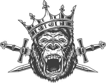 Ferocious gorilla king head in crown