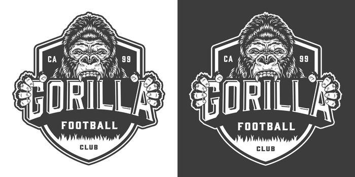 Football club angry gorilla mascot label