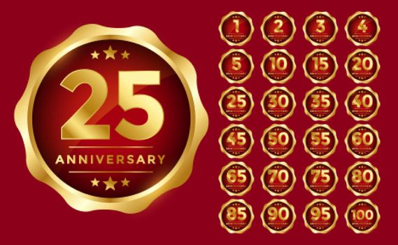 anniversary emblem set in golden color