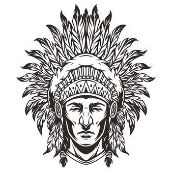 Vintage monochrome indian chief head