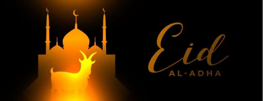 glowing eid al adha arabic festival banner