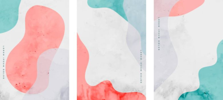 hand painted minimal fluid curve shapes poster design