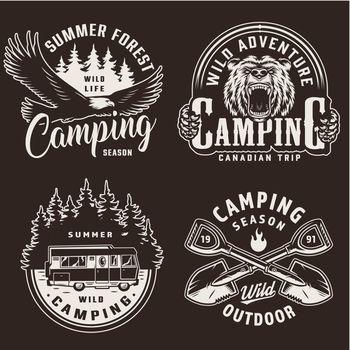 Vintage camping season monochrome labels
