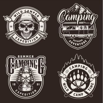 Vintage summer camping prints