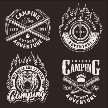 Monochrome camping logos