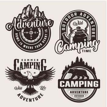 Monochrome summer adventure logos