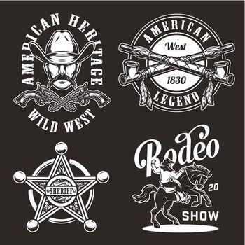 Vintage wild west prints set