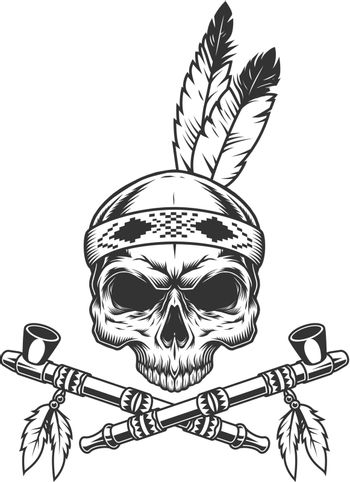 Vintage monochrome skull with indian feathers