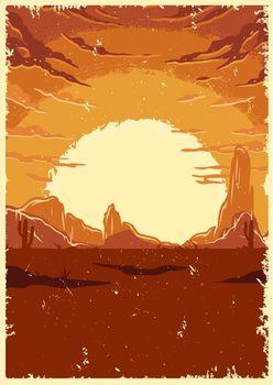 Desert landscape vintage colorful template