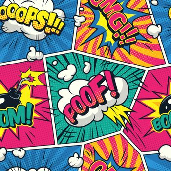 Comic colorful seamless pattern