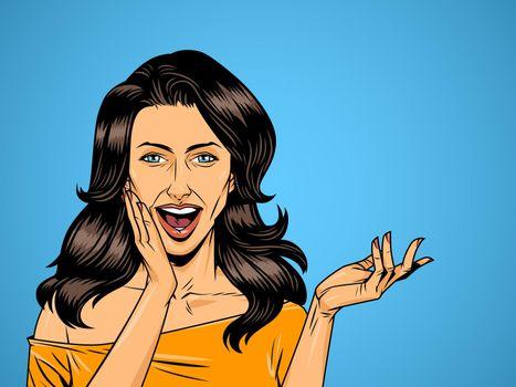 Comic beautiful surprised woman